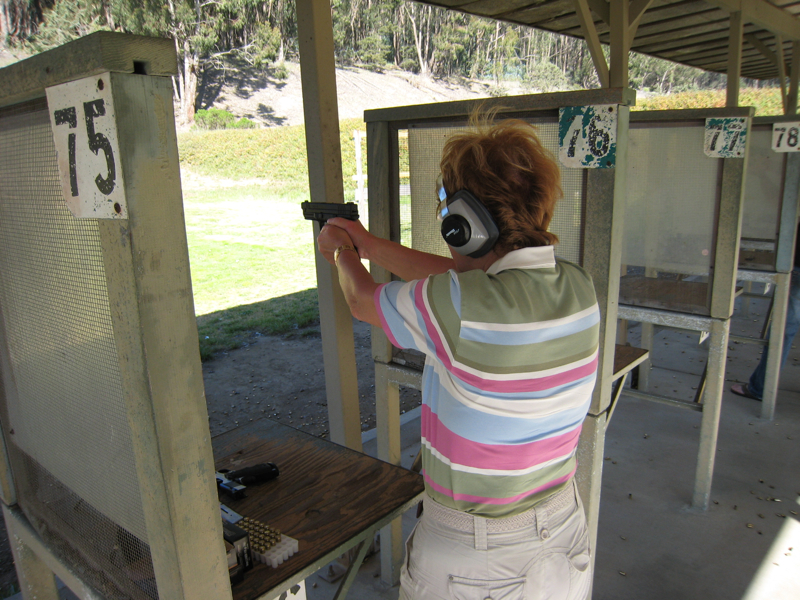 Mom shooting a Springfield XD-9