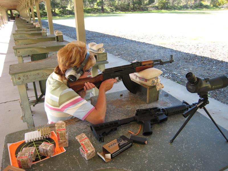 Mom shooting an AK-47 clone